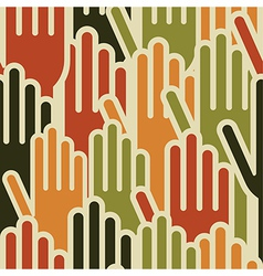 Multi-Ethnic hands seamless pattern vector image