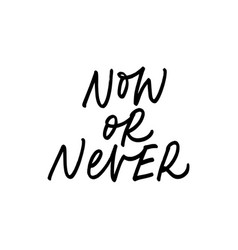 Now or never ink pen lettering vector
