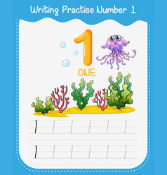 Number one tracing alphabet worksheets vector