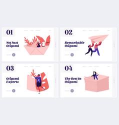 origami art website landing page set happy people vector image