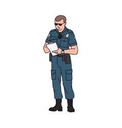 Policeman or road patrol officer cartoon sketch vector