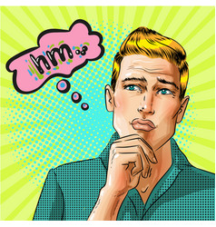 pop art thinking man with speech bubble vector image