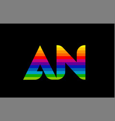 rainbow color colored colorful alphabet letter an vector image