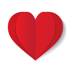 Red paper heart on white background vector