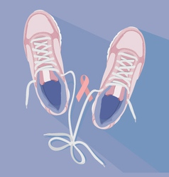 Running for cure sneakers vector