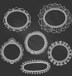 set doodle frames on chalkboard vector image