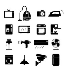 set of electronic home icons black vector image