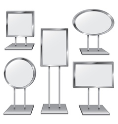 Set of Five Chrome Sign Holders vector