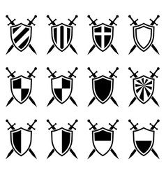 shield and swords collection vector image