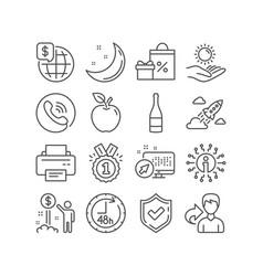 Shopping world money and printer icons sun vector