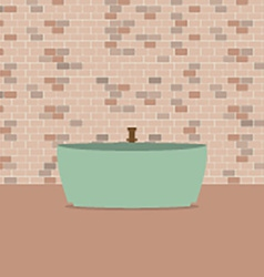 Single Bathtub In Front Of Brick Wall vector image