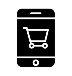 Smartphone with shopping cart silhouette icon vector