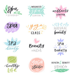 spa lettering beauty calligraphic logotype vector image