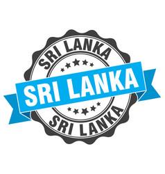 Sri lanka round ribbon seal vector