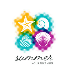 Summer card with seashells vector