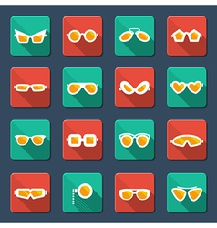 Sunglasses and glasses icons vector image