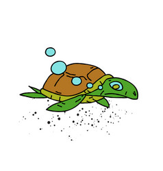 swimming turtle cartoon hand drawn image vector image