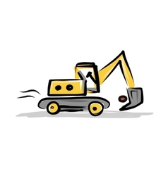Tracked excavator construction equipment for your vector image