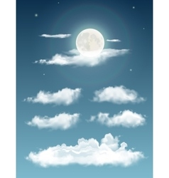 Transparent realistic clouds Night sky with moon vector