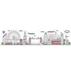 Travel in London city line flat design banner vector image
