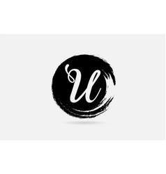u letter logo alphabet on grunge circle in black vector image