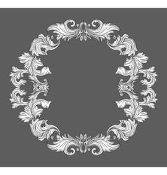 Vintage baroque frame border with leaf scroll vector