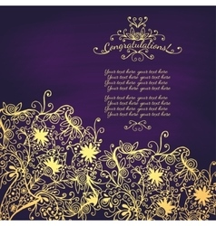Vintage Congratulations card with lace ornament vector image