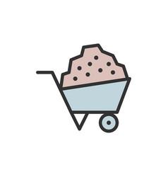 wheelbarrow garden cart flat color line icon vector image