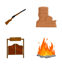 Winchester saloon rock firewild west set vector