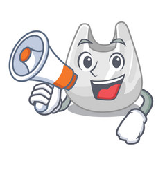 With megaphone plastic bag character cartoon vector