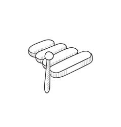 Xylophone sketch icon vector image