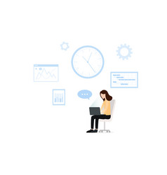 young woman using laptop for work business or vector image