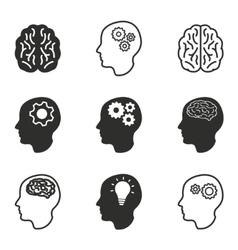 Brain icon set vector image vector image