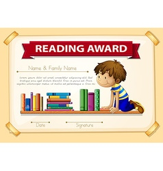 Certification template with boy and books vector