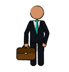 drawing character business man with suit portfolio vector image