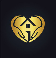 gold love house care logo vector image