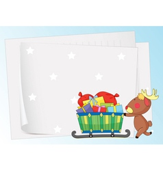 paper sheets and a reindeer vector image