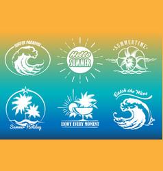 summer typography emblem set vector image