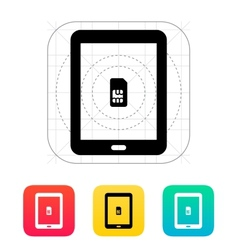 Tablet with SIM icon vector image vector image