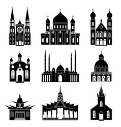 cartoon silhouette black churches and temples icon vector image vector image