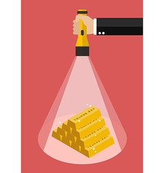 Hand holding flashlight glow to the gold ingots vector image vector image