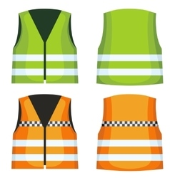Safety road vest waistcoat with reflective vector