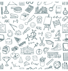 Seamless pattern with hand drawn school elements vector image vector image