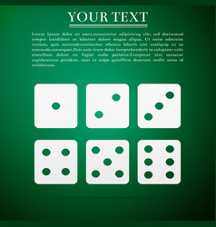 set of six dices flat icon on green background vector image
