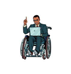 african businessman in wheelchair isolated on vector image vector image