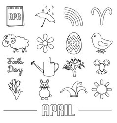 april month theme set of simple outline icons vector image vector image