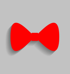 bow tie icon red icon with soft shadow on vector image vector image