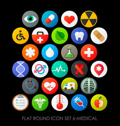 flat round icon set 6-medical vector image vector image