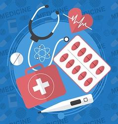 Medicine flat icons set pills box tablets pill vector