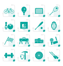 stylized simple sports gear and tools icons vector image vector image